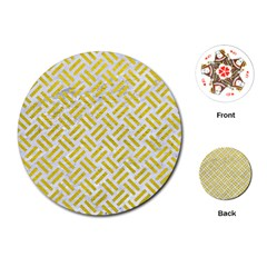 Woven2 White Marble & Yellow Leather (r) Playing Cards (round)  by trendistuff