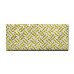 Woven2 White Marble & Yellow Leather (r) Cosmetic Storage Cases by trendistuff