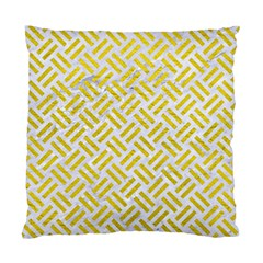Woven2 White Marble & Yellow Leather (r) Standard Cushion Case (two Sides) by trendistuff
