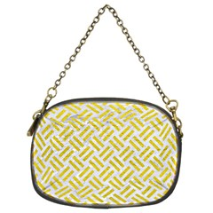 Woven2 White Marble & Yellow Leather (r) Chain Purses (two Sides)  by trendistuff