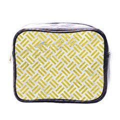 Woven2 White Marble & Yellow Leather (r) Mini Toiletries Bags by trendistuff