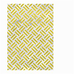 Woven2 White Marble & Yellow Leather (r) Small Garden Flag (two Sides) by trendistuff