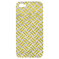 Woven2 White Marble & Yellow Leather (r) Apple Iphone 5 Hardshell Case by trendistuff