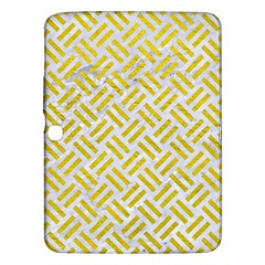 Woven2 White Marble & Yellow Leather (r) Samsung Galaxy Tab 3 (10 1 ) P5200 Hardshell Case  by trendistuff