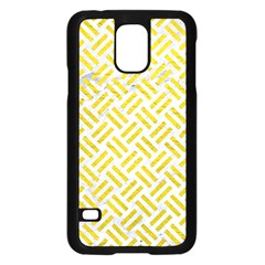 Woven2 White Marble & Yellow Leather (r) Samsung Galaxy S5 Case (black) by trendistuff