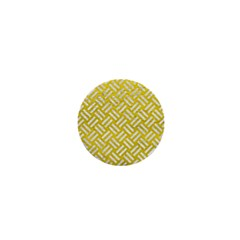 Woven2 White Marble & Yellow Leather 1  Mini Buttons by trendistuff