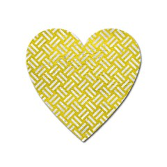 Woven2 White Marble & Yellow Leather Heart Magnet by trendistuff