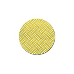 Woven2 White Marble & Yellow Leather Golf Ball Marker (10 Pack)