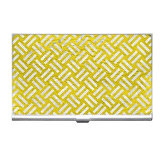 Woven2 White Marble & Yellow Leather Business Card Holders by trendistuff