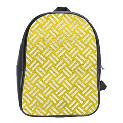 Woven2 White Marble & Yellow Leather School Bag (xl) by trendistuff