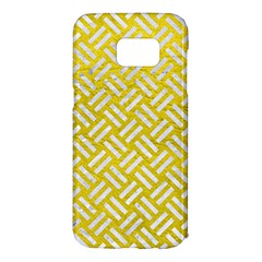 Woven2 White Marble & Yellow Leather Samsung Galaxy S7 Edge Hardshell Case by trendistuff