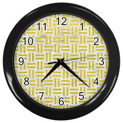 Woven1 White Marble & Yellow Leather (r) Wall Clocks (black) by trendistuff