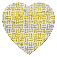 Woven1 White Marble & Yellow Leather (r) Jigsaw Puzzle (heart) by trendistuff