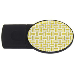 Woven1 White Marble & Yellow Leather (r) Usb Flash Drive Oval (4 Gb) by trendistuff