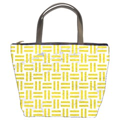 Woven1 White Marble & Yellow Leather (r) Bucket Bags by trendistuff