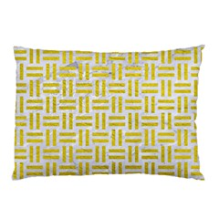 Woven1 White Marble & Yellow Leather (r) Pillow Case