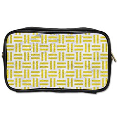 Woven1 White Marble & Yellow Leather (r) Toiletries Bags 2 Side by trendistuff