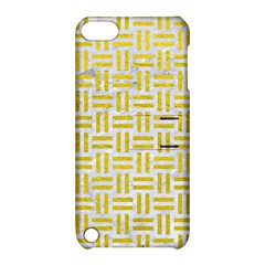 Woven1 White Marble & Yellow Leather (r) Apple Ipod Touch 5 Hardshell Case With Stand by trendistuff