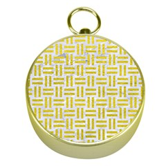 Woven1 White Marble & Yellow Leather (r) Gold Compasses by trendistuff