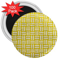 Woven1 White Marble & Yellow Leather 3  Magnets (100 Pack) by trendistuff