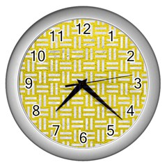 Woven1 White Marble & Yellow Leather Wall Clocks (silver)  by trendistuff