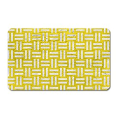 Woven1 White Marble & Yellow Leather Magnet (rectangular) by trendistuff