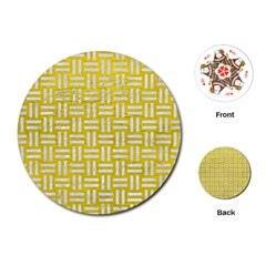 Woven1 White Marble & Yellow Leather Playing Cards (round)  by trendistuff