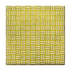 Woven1 White Marble & Yellow Leather Face Towel by trendistuff
