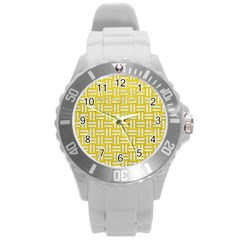 Woven1 White Marble & Yellow Leather Round Plastic Sport Watch (l) by trendistuff