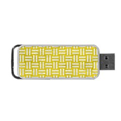 Woven1 White Marble & Yellow Leather Portable Usb Flash (one Side) by trendistuff