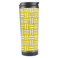 Woven1 White Marble & Yellow Leather Travel Tumbler by trendistuff