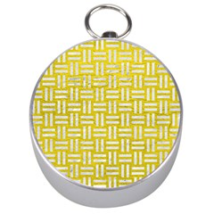 Woven1 White Marble & Yellow Leather Silver Compasses by trendistuff