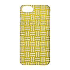 Woven1 White Marble & Yellow Leather Apple Iphone 7 Hardshell Case by trendistuff