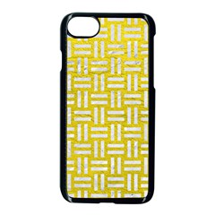 Woven1 White Marble & Yellow Leather Apple Iphone 7 Seamless Case (black) by trendistuff