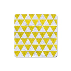 Triangle3 White Marble & Yellow Leather Square Magnet by trendistuff