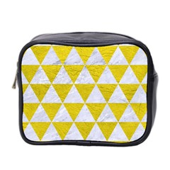 Triangle3 White Marble & Yellow Leather Mini Toiletries Bag 2 Side by trendistuff