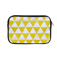 Triangle3 White Marble & Yellow Leather Apple Macbook Pro 13  Zipper Case by trendistuff