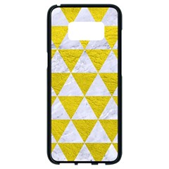 Triangle3 White Marble & Yellow Leather Samsung Galaxy S8 Black Seamless Case