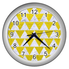 Triangle2 White Marble & Yellow Leather Wall Clocks (silver)  by trendistuff