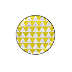 Triangle2 White Marble & Yellow Leather Hat Clip Ball Marker by trendistuff