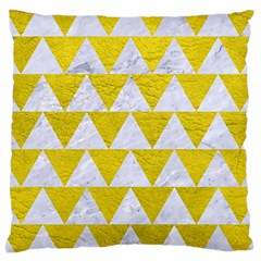 Triangle2 White Marble & Yellow Leather Large Cushion Case (two Sides) by trendistuff