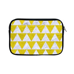 Triangle2 White Marble & Yellow Leather Apple Ipad Mini Zipper Cases by trendistuff