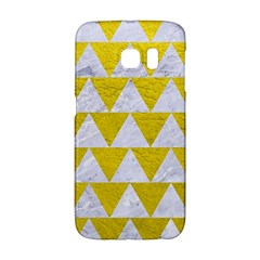 Triangle2 White Marble & Yellow Leather Galaxy S6 Edge by trendistuff