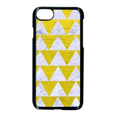 Triangle2 White Marble & Yellow Leather Apple Iphone 7 Seamless Case (black) by trendistuff