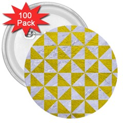 Triangle1 White Marble & Yellow Leather 3  Buttons (100 Pack)  by trendistuff