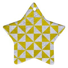 Triangle1 White Marble & Yellow Leather Star Ornament (two Sides) by trendistuff