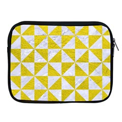 Triangle1 White Marble & Yellow Leather Apple Ipad 2/3/4 Zipper Cases by trendistuff