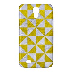 Triangle1 White Marble & Yellow Leather Samsung Galaxy Mega 6 3  I9200 Hardshell Case by trendistuff