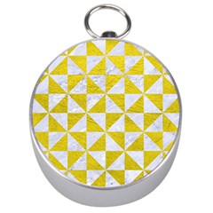 Triangle1 White Marble & Yellow Leather Silver Compasses by trendistuff