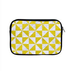 Triangle1 White Marble & Yellow Leather Apple Macbook Pro 15  Zipper Case by trendistuff